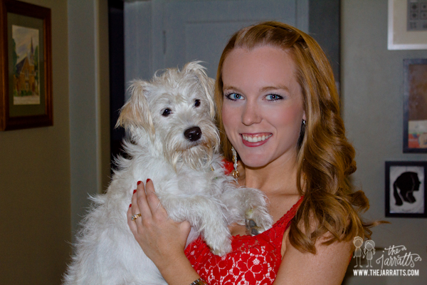 before dinner with friends for savannah's birthday. of course the photo is with the dog.