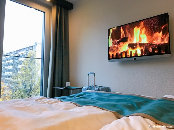 The hotel was nice and cozy, virtual fireplace and all!