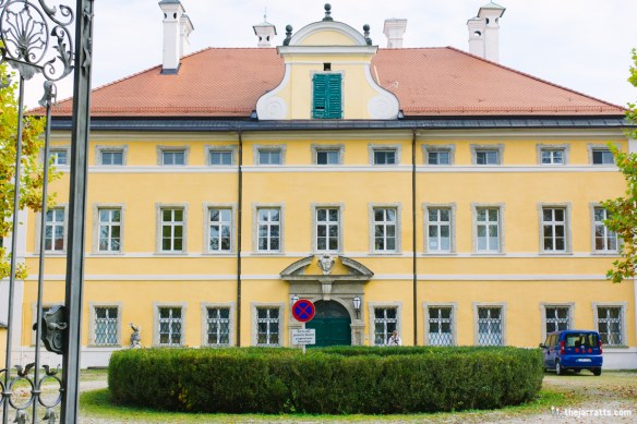 The famous front of Frohnburg Palace, used as the front of the Von Trapp home in the film