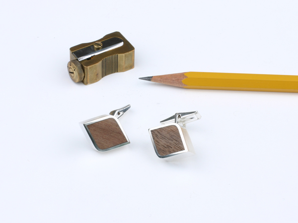 silver cuff links with wood inlay