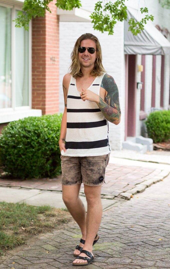 all saints, rvca, mens striped tank top, mens tattoos, how to dress in the summer