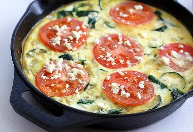 and feta greek frittata with zucchini tomatoes feta and herbs baked ...