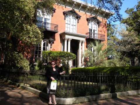 Tammy at the Mercer Williams House in Savannah, Georgia.