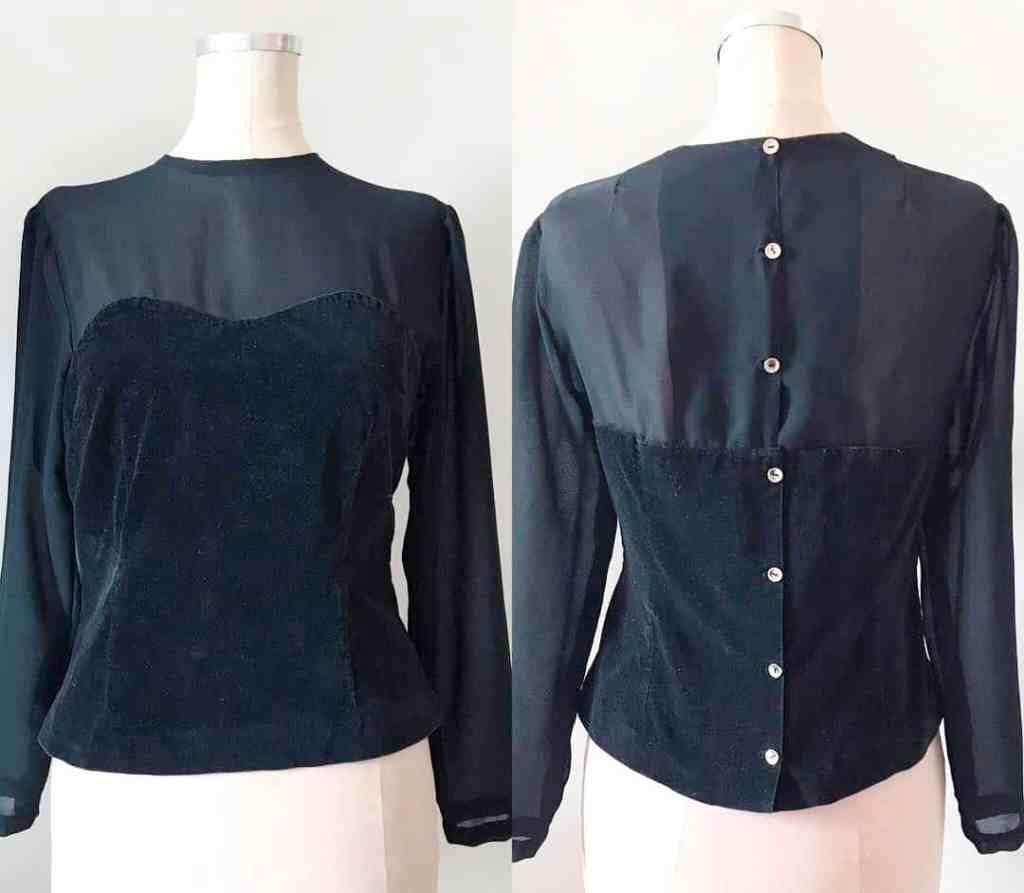 Black chiffon velvet blouse