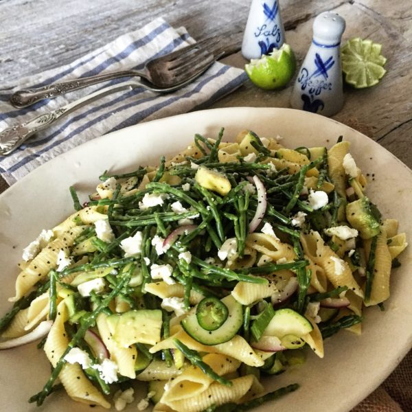 samphire and zucchini pasta salad with avocado and feta the lemon apron. Black Bedroom Furniture Sets. Home Design Ideas