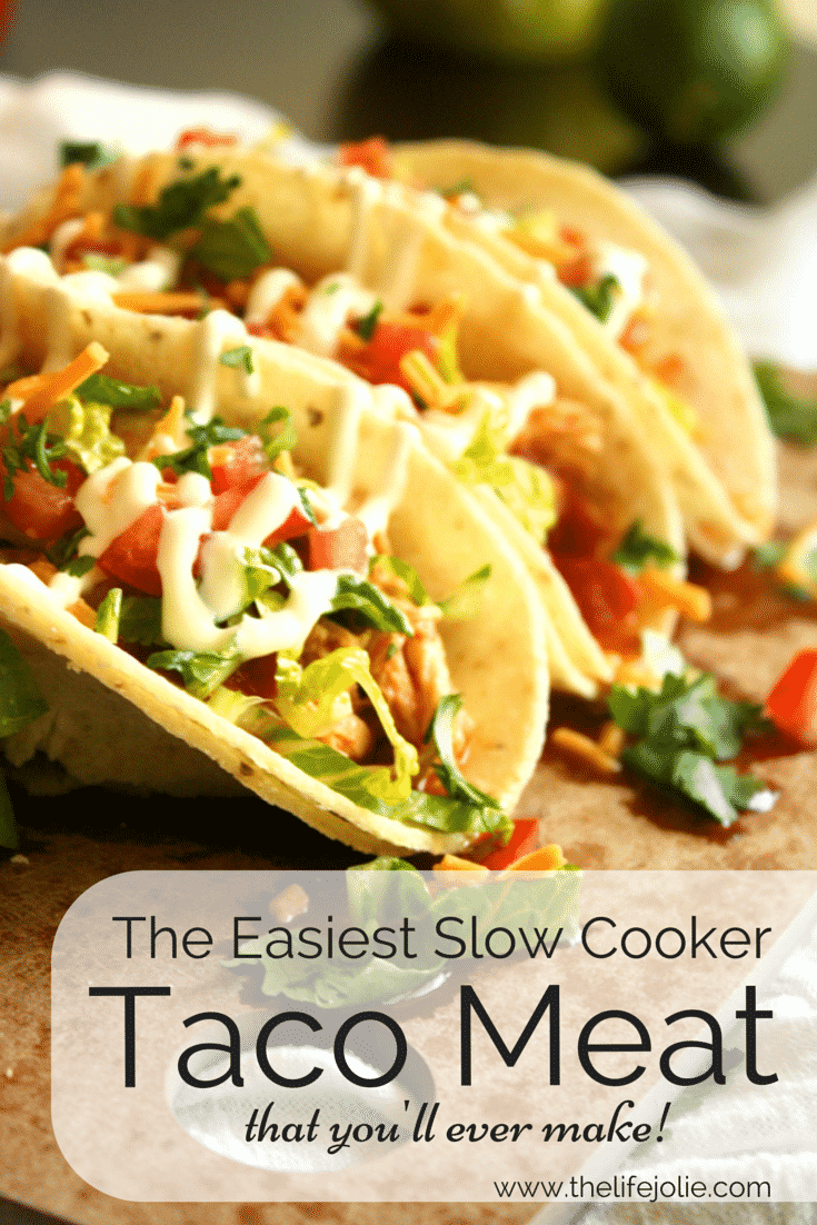 This Slow Cooker Taco Meat is the easiest taco meat you'll ever make. It comes together really quickly and tastes delicious! Click on the photo to read more...