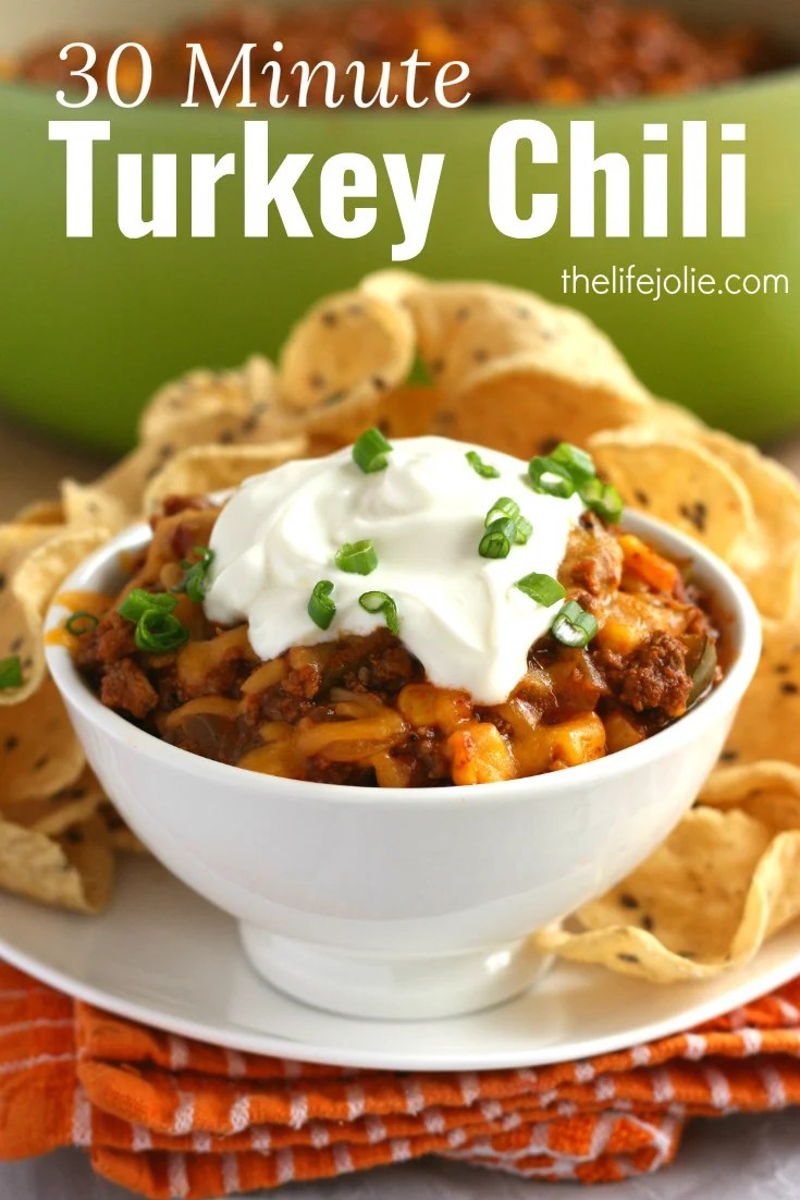 This 30 Minute Turkey Chili is one of the most ultimate comfort foods! Not only is it healthy and easy to make, but it's so quick to make and has the best flavor! Definitely a keeper!