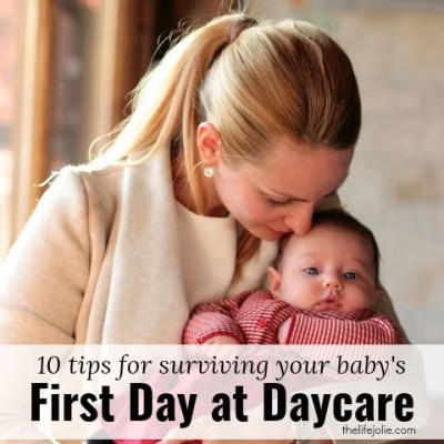 Here are 10 tips for surviving your baby's first day at daycare. It can be hard for mom and dad to leave their infant at daycare but these are tips to make the transition after maternity leave a little bit easier. Click on the photo to read more!