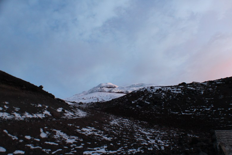 This is a view of the summit the night before around suppertime. Clear and crisp.