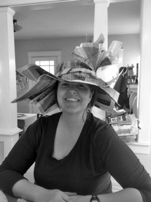 Jenny Whitlock models her Derby hat creation.
