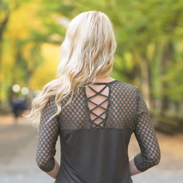 Olive Crochet Top with Strappy Cutout Back