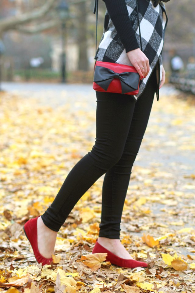 Black skinny jeans with red flats and red Kate Spade Hanover Street Aster bag