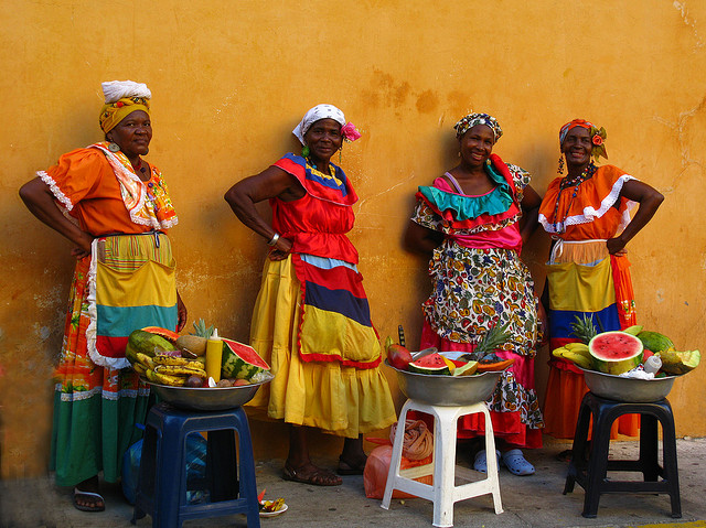 Lady fruit vendors of Colombia in traditional costumes - Image by Luz ...
