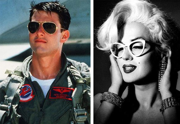 Tom Cruise con las 'Aviator' y Marilyn Monroe con un modelo