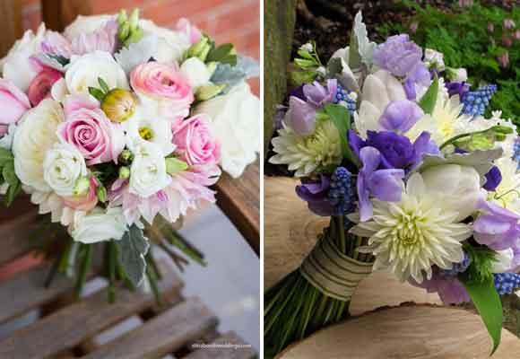 8 y 9 El otro con rosas, lisianthus, ranúnculos y cineraria gris. Foto de Studio SB 8 y 9 Exquisitos bouquets. Uno con dalias, tulipanes, flor del guisante, anémonas y muscaris. Foto de Alison Ellis