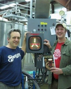 Author Kevin Revolinski with Tanner Brethorst of Port Huron Brewing and the secret behind his beer: a flux capacitor in the brewhouse.