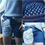 DIY Lace cut off Shorts with Polka Dot Pockets | The Makeup Dummy