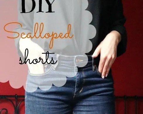 DIY scalloped jeans shorts tutorial
