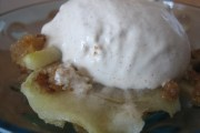 Apple brown betty with homemade cinnamon ice cream