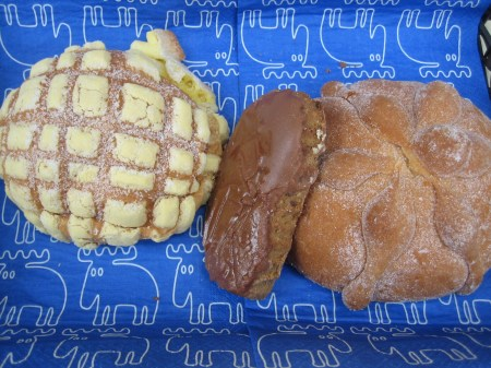 A concha, ladrillo and pan de muerto from Pastelería Elizondo in Polanco, Mexico City