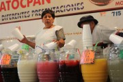 Aguas frescas for sale at the market building in Xochimilco