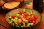 Swiss chard pesto with cherry tomatoes