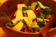 Grilled romaine and radicchio salad with homemade croutons