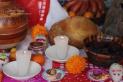 A close-up of a Day of the Dead altar at the Escuela de Gastronomía in Roma