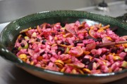 Ensalada Nochebuena, a mix of beets, oranges, jicama and peanuts
