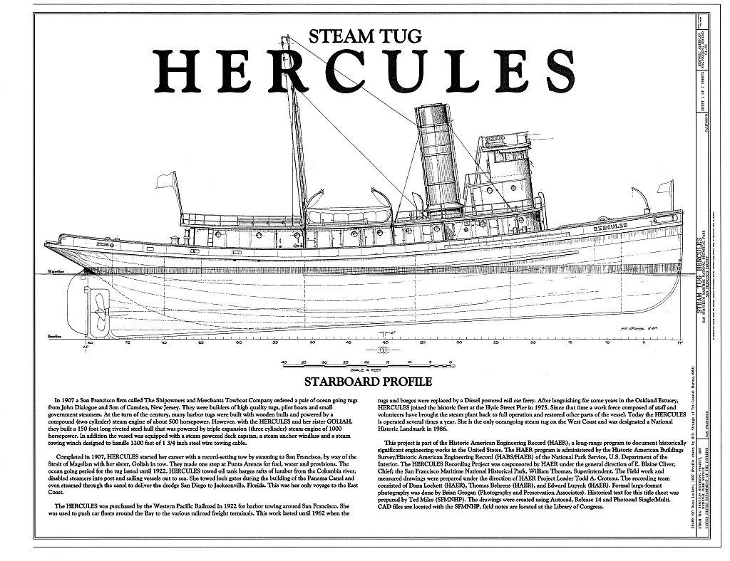 Cargo Ship Blueprint : Steam tug hercules the model shipwright