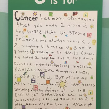 This is part of the alphabet displayed at St. Jude made by the patients.