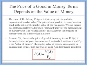 Price and the Value of Money