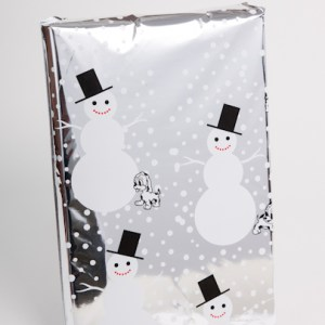 smiling snowmen mylar bag