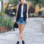 BLACK VEST & PEEP-TOE BOOTIES | LE TOTE