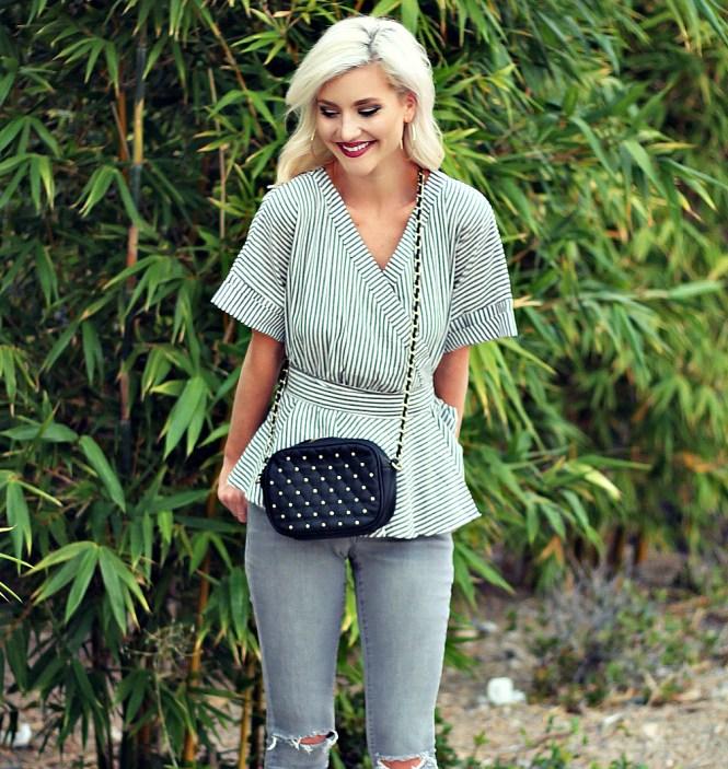distressed-denim-gray-jeans-studded-purse-striped-top-romwe-peplum-top-ankle-strap-sandals-las-vegas-fashoin-blogger-las-vegas-beauty-blogger-2