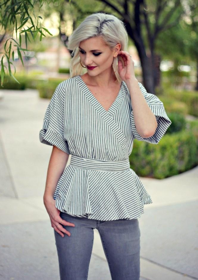 distressed-denim-gray-jeans-studded-purse-striped-top-romwe-peplum-top-ankle-strap-sandals-las-vegas-fashoin-blogger-las-vegas-beauty-blogger-5