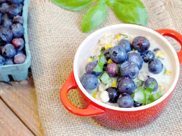Sweet Corn, Blueberry, and Basil Oatmeal by the Oatmeal Artist #vegan