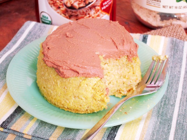 Yellow Cake Baked Oatmeal with Chocolate PB2 Frosting - The Oatmeal Artist