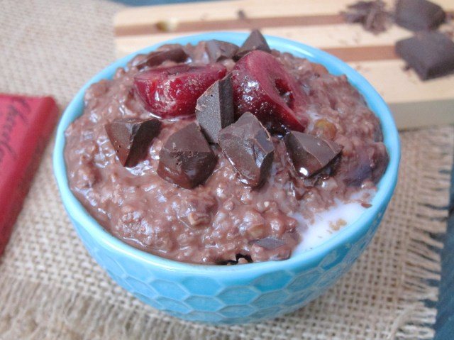 Chocolate Chili Cherry Oatmeal by The Oatmeal Artist #vegan