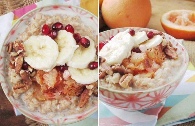 Broiled Grapefruit and Banana Oatmeal - The Oatmeal Artist