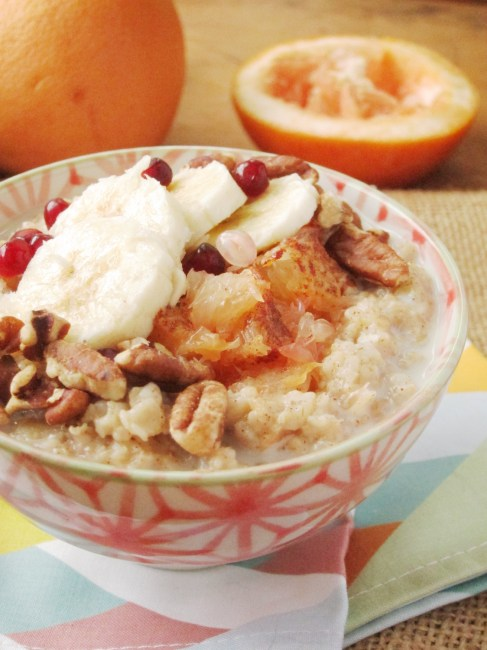 Broiled Grapefruit and Banana Oatmeal by the Oatmeal Artist #vegan