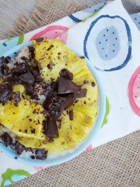 Grilled Pineapple and Dark Chocolate Oatmeal #oatmealartist