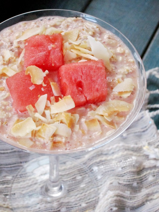 Watermelon Coconut Overnight Oatmeal by The Oatmeal Artist