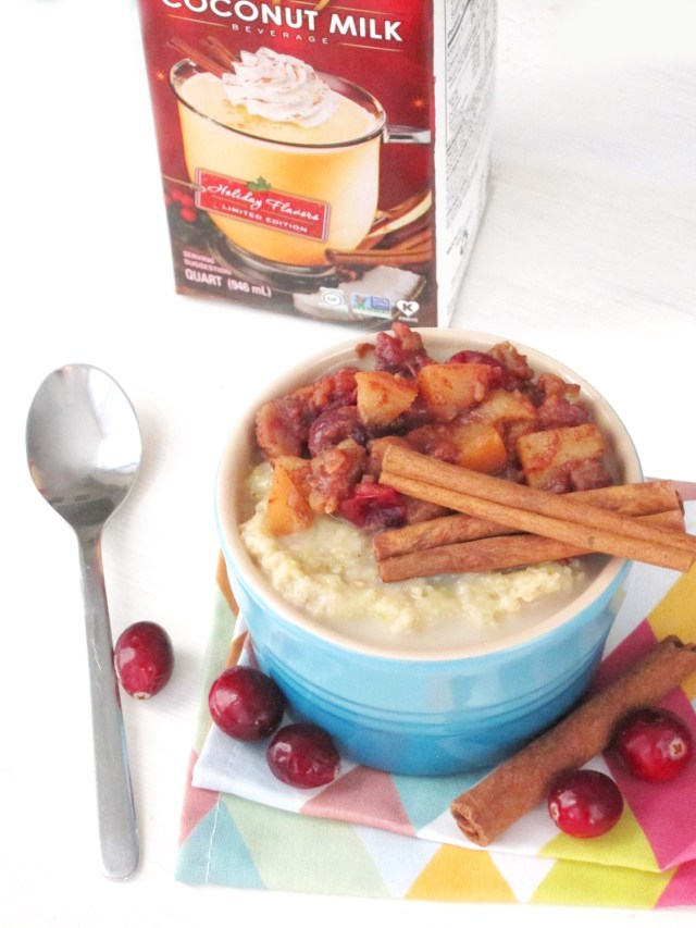 Eggnog Zucchini Oatmeal with Apple-Cranberry-Chestnut Compote #oatmealartist #vegan