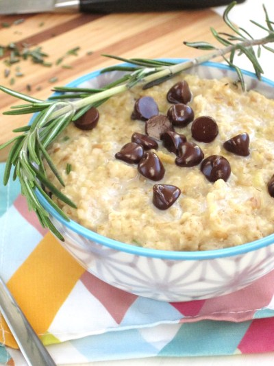 Rosemary Chocolate Chip Oatmeal #vegan