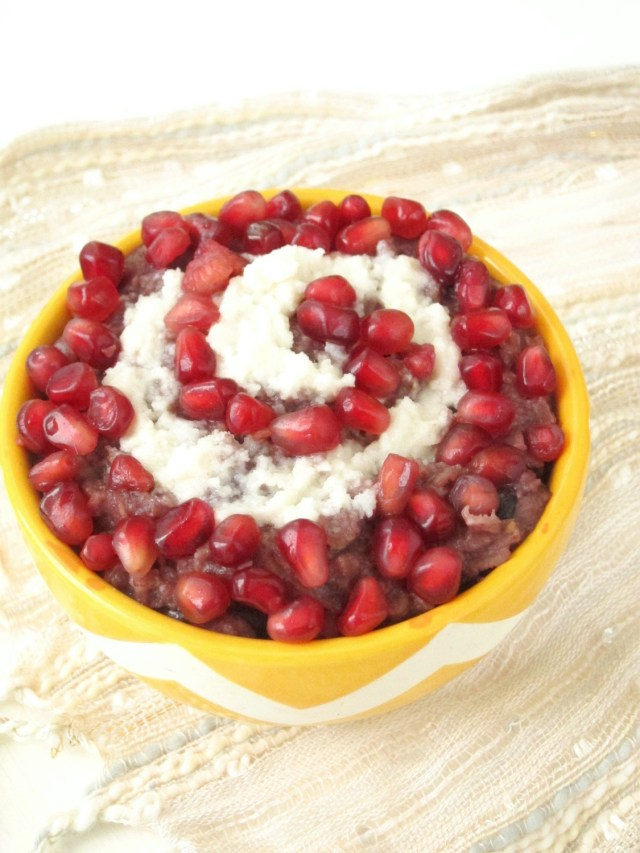 Berry Oatmeal with Coconut Butter and Pomegranate by the #OatmealArtist