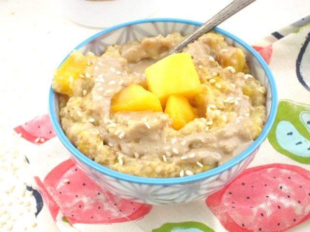 Mango Tahini Oatmeal #OatmealArtist #Vegan