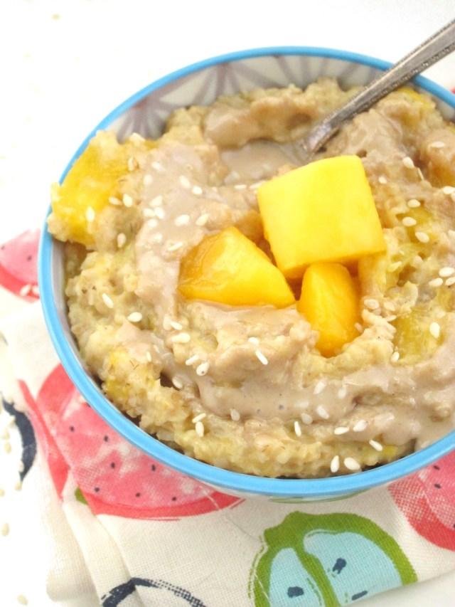 Mango Tahini Oatmeal by the Oatmeal Artist