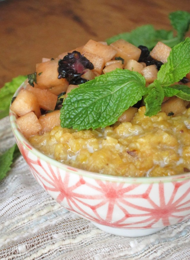 Cantaloupe Date Oatmeal with Mint-Melon Relish