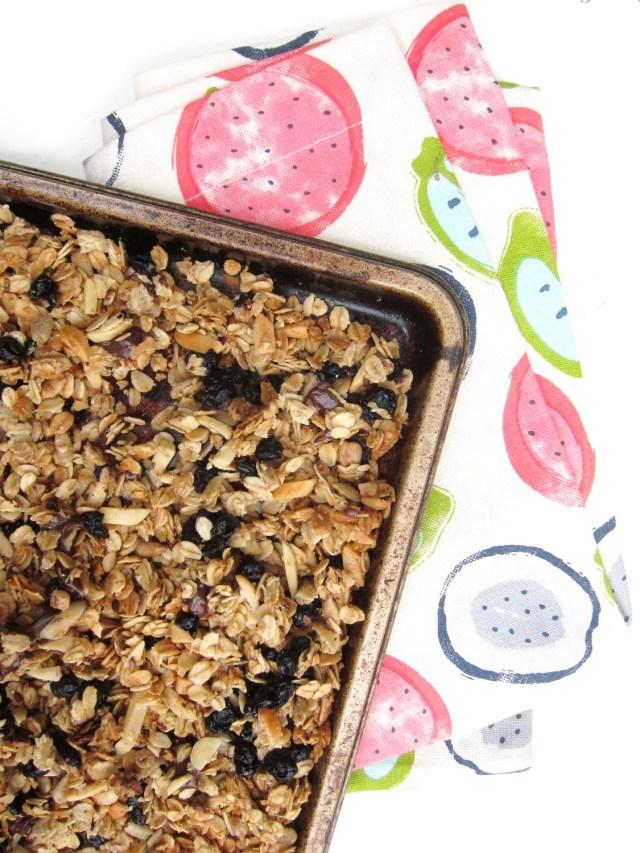 Choco-Blueberry Almond Granola by the #OatmealArtist #Vegan